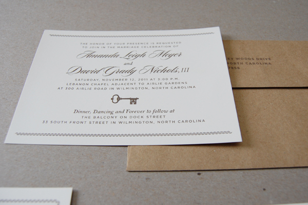 Amanda and Grady Wedding Invitation Closeup